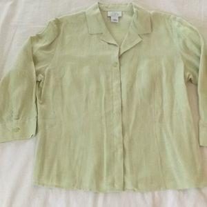 An.n Taylor Loft lime green linen blouse